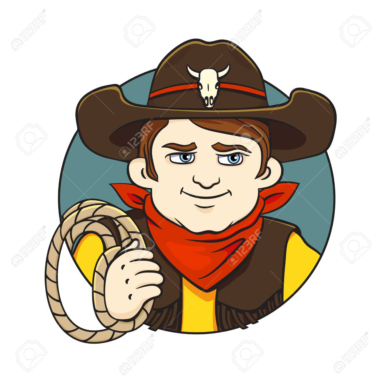 e68cd144499 Colored in cartoon style vector illustration with cowboy in hat and lasso  in his hand.