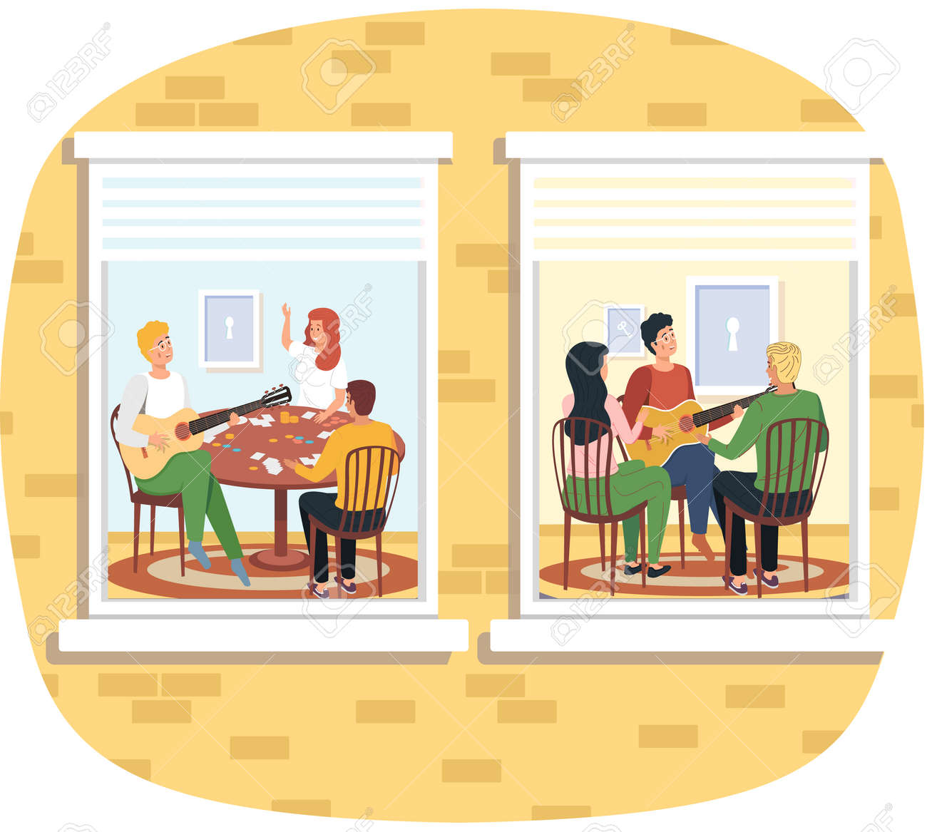 Group of people sing songs and play guitar sitting in apartment. social isolation, quarantine concept. Young men, group of friends musicians relax playing musical instruments stay at home - 163022268
