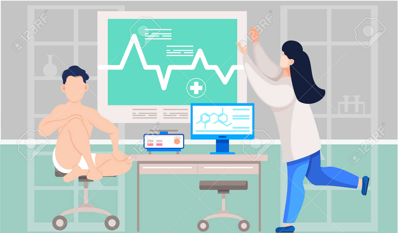 Woman in lab coat doctor examines patient s heart makes cardiogram. Male patient sit in laboratory - 166306506