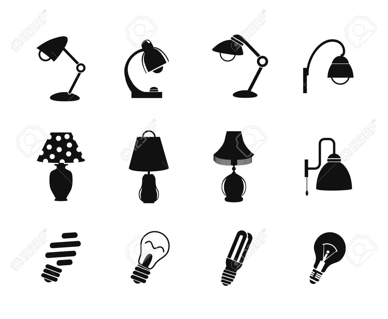 Table Lamp And Light Icon Simple Style Black Silhouette On A