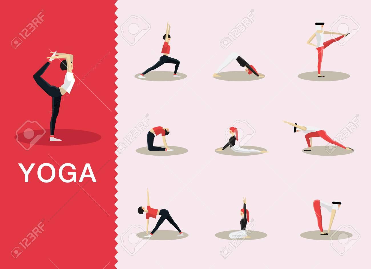 Yoga Und Pilates Posiert In Einer Auswahl Von Zeitgenössischen Stil ...