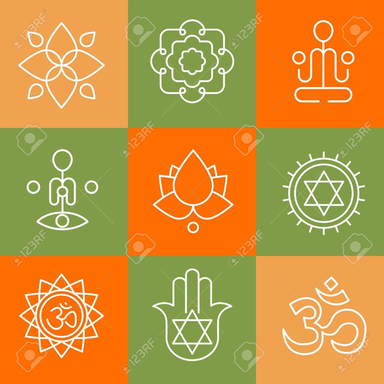 Vector Yoga-Symbole Und Abzeichen Linie, Grafik-Design-Elemente Oder ...