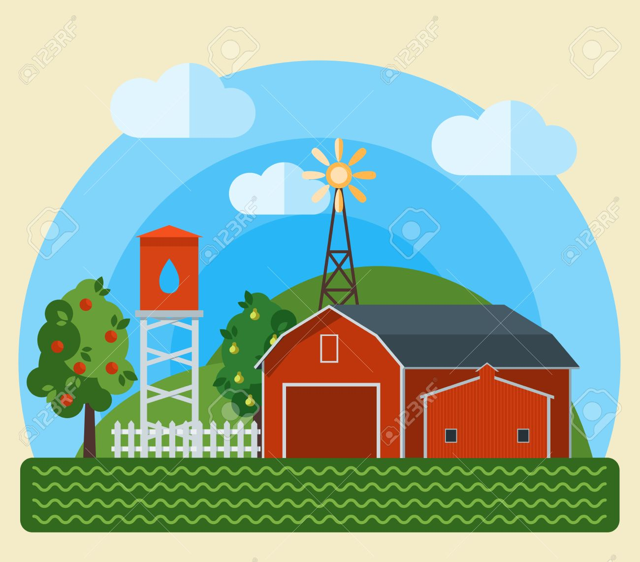 Flat Farm Landscape Illustration With Farmhouse Fields Pond Sunflowers And Animals
