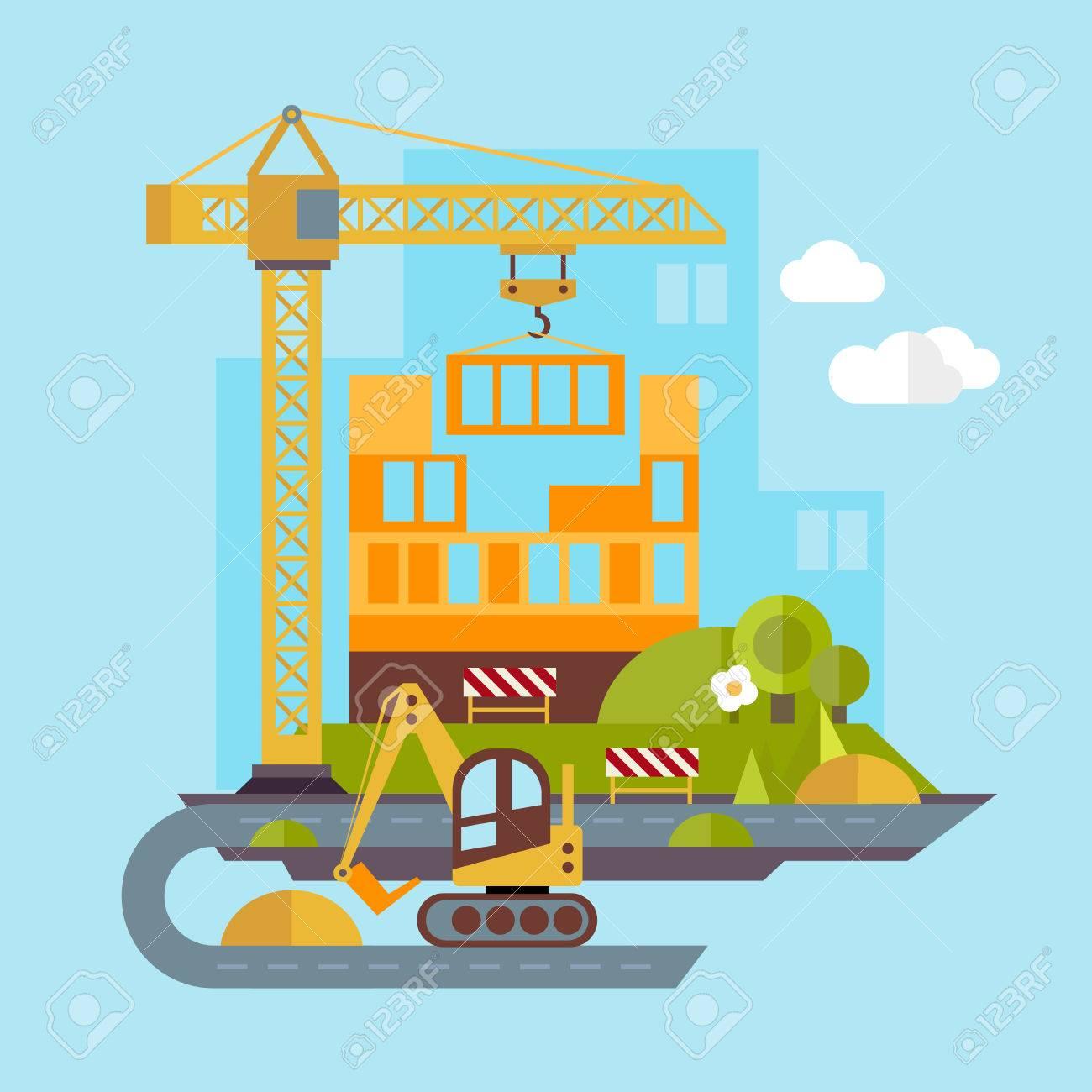 工事現場建築家ベクトル フラット イラストのイラスト素材ベクタ