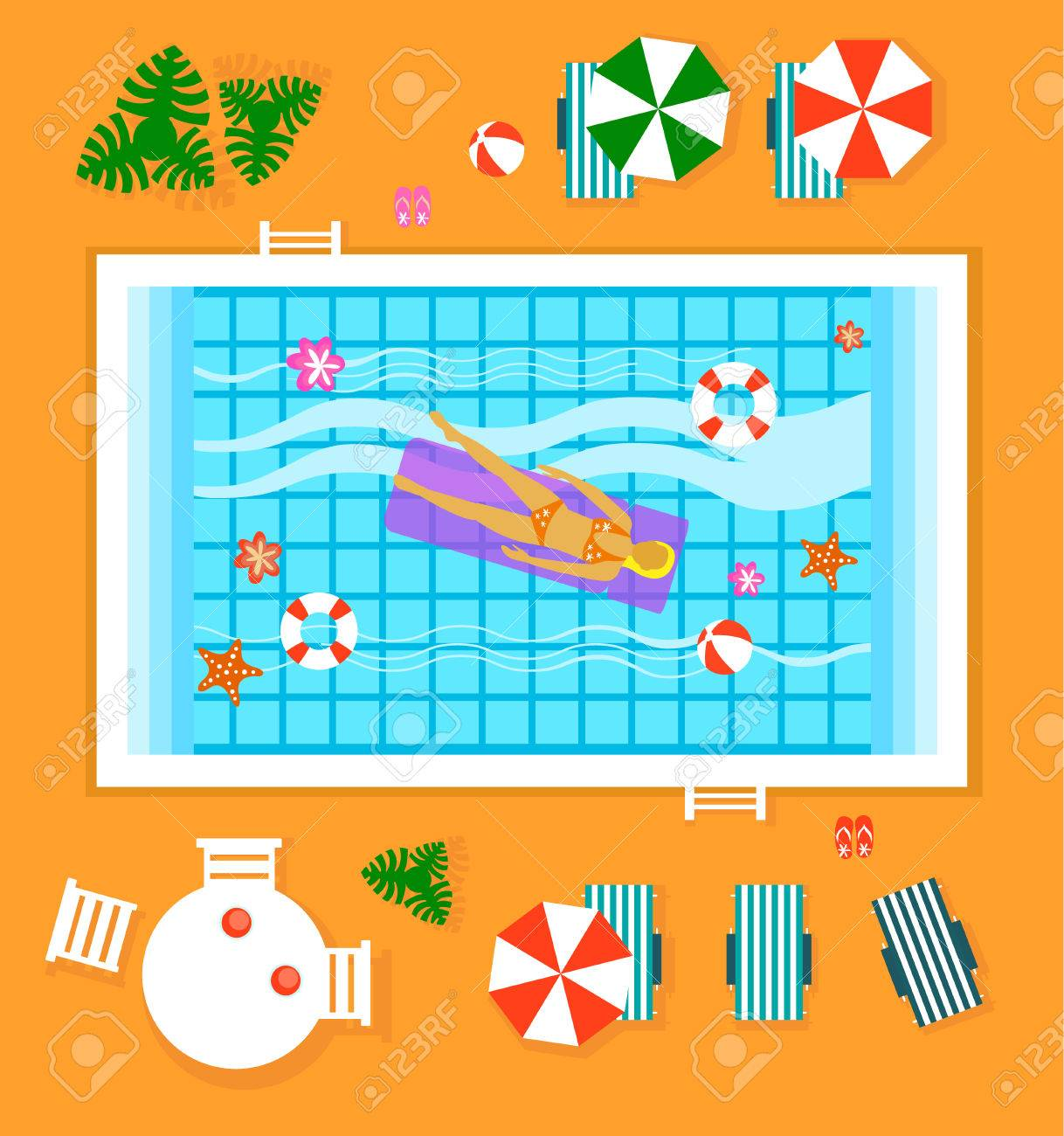 Happy People Sunny Pool Hotel Summer Vacation Flat Design Concept Template Vector Illustration Stock