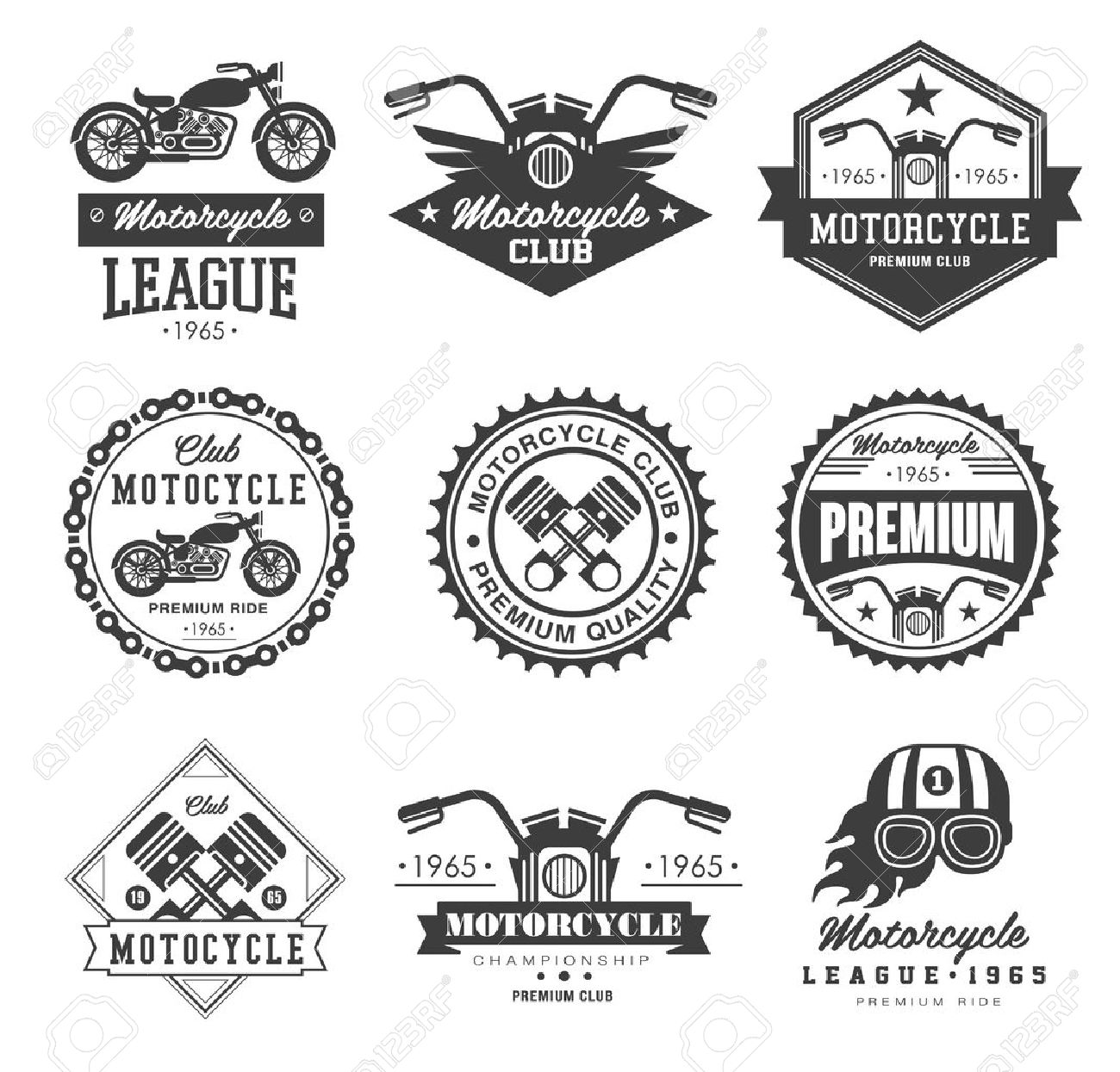 Badges, emblems Motorcycle Collections vector logo set - 42726396