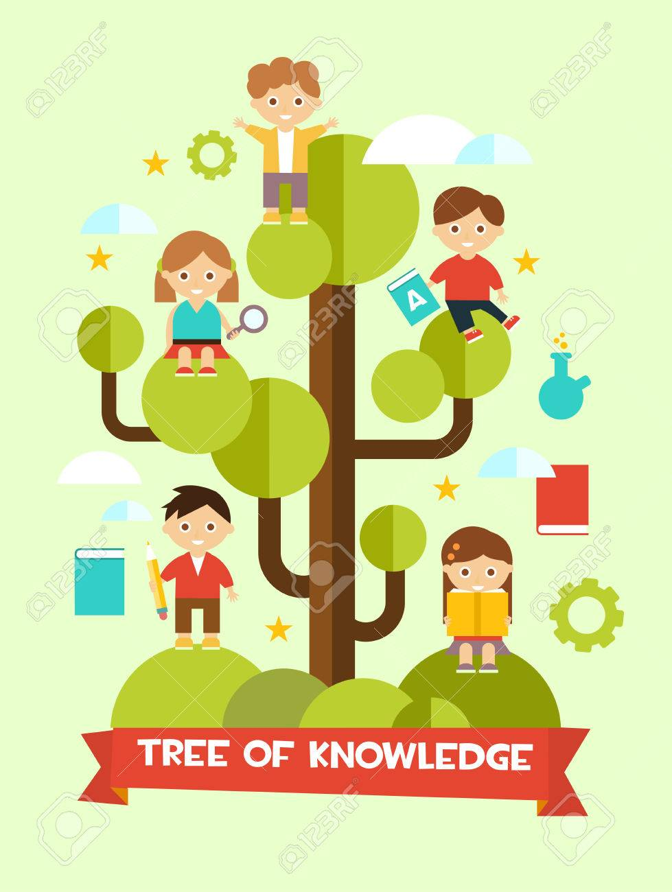 creative education concept flat design with tree of knowledge and children stock vector 43857951