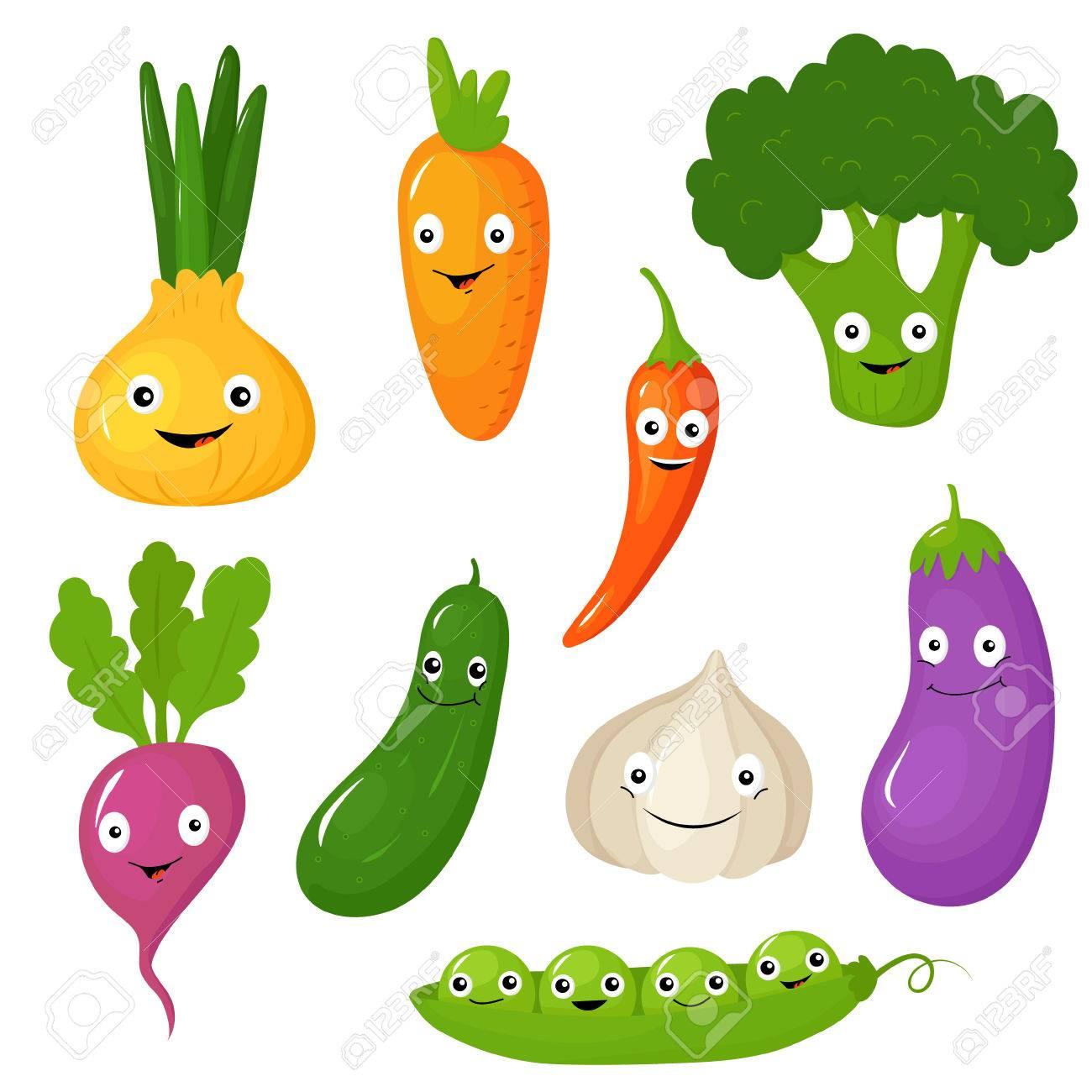 Conjunto De Sonriente Verduras De Dibujos Animados Lindo Ilustración Vectorial Colección
