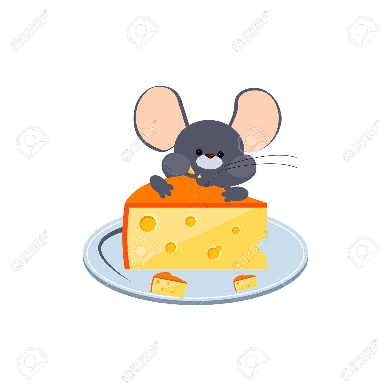Little Gray Mouse Chewing Cheese on a Plate. Bright Vector Illustration - 47988362