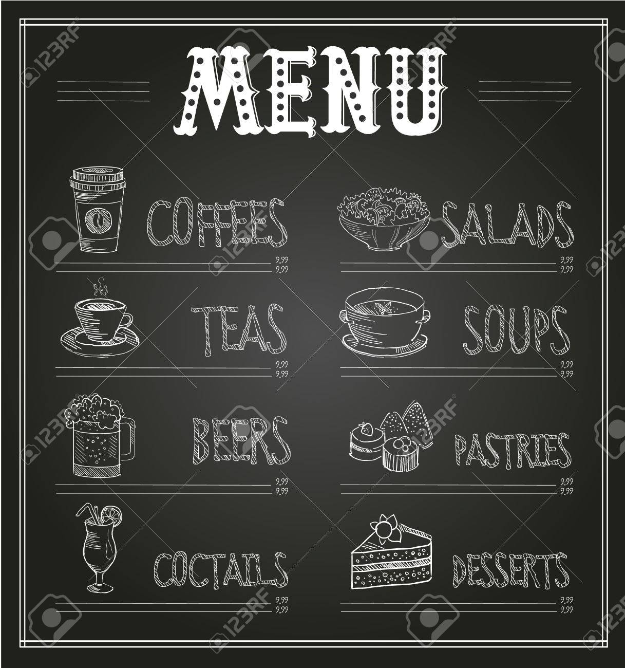 chalkboard menu template of food and drinks monochrome vector