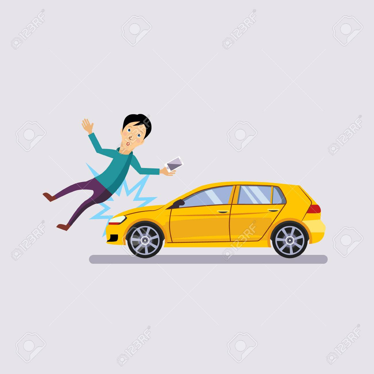 Traffic Accident, The Vehicle Knocked The Man Flat Style Vector ...