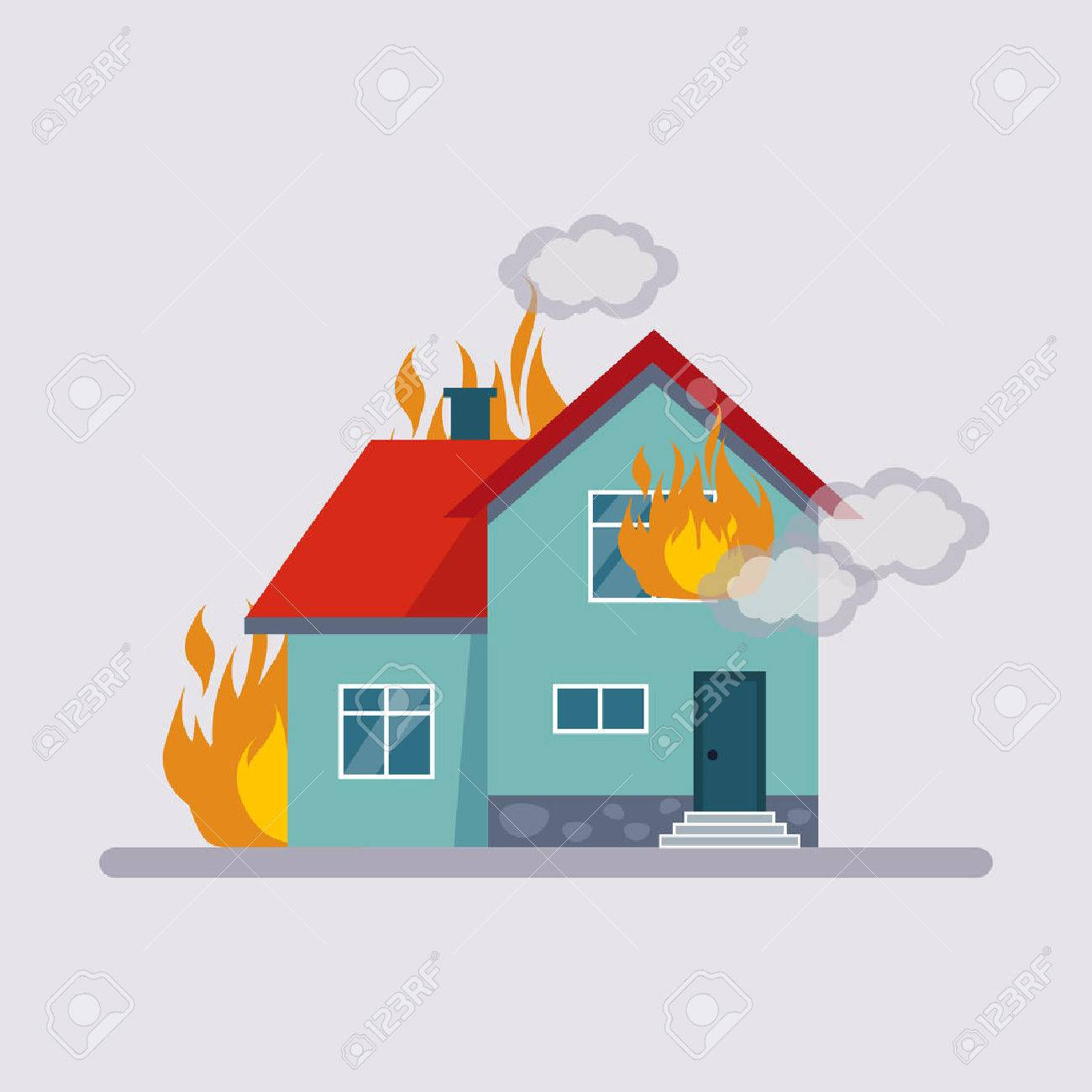 Fire Insurance Colourful Illustration flat style - 50148594
