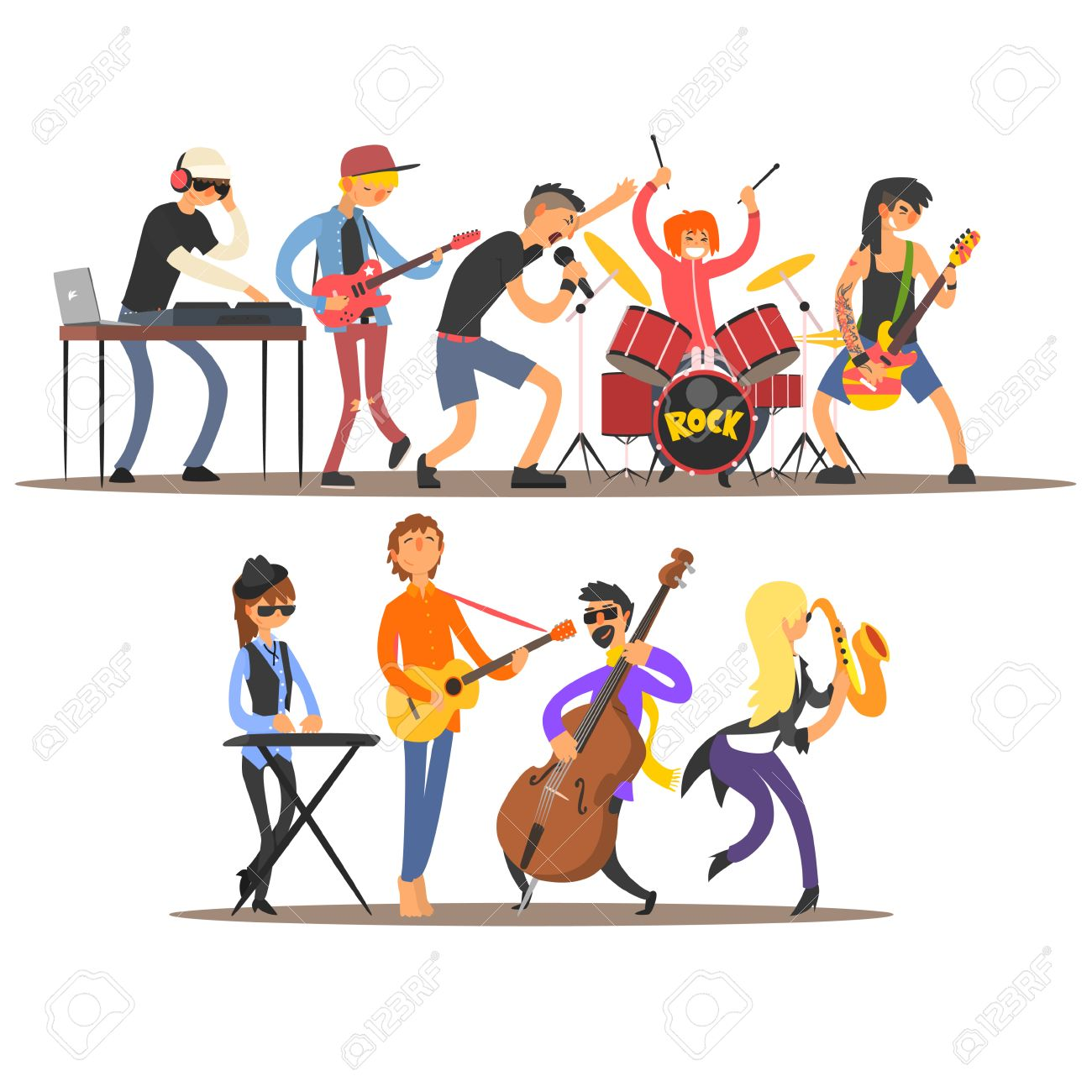 Musicians and Mucical Instruments. Flat Vector Illustration - 52427211