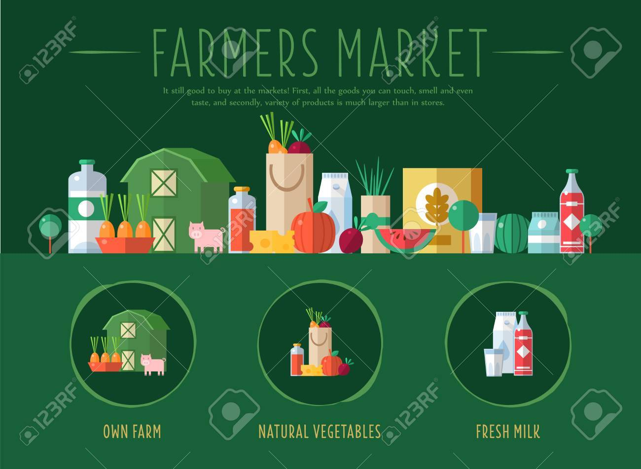 farmers market flat vector illustration design for the web site flat vector illustration design for the web site first page stock vector