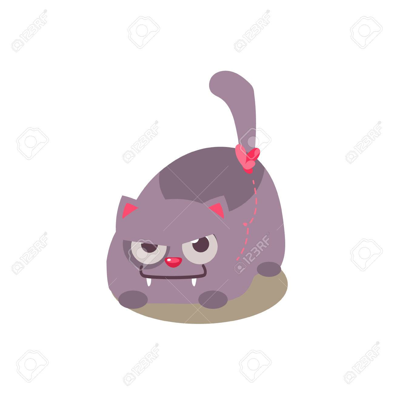 Cat Hunting Schmetterling Entzuckende Emoji Wohnung Vektor Caroon