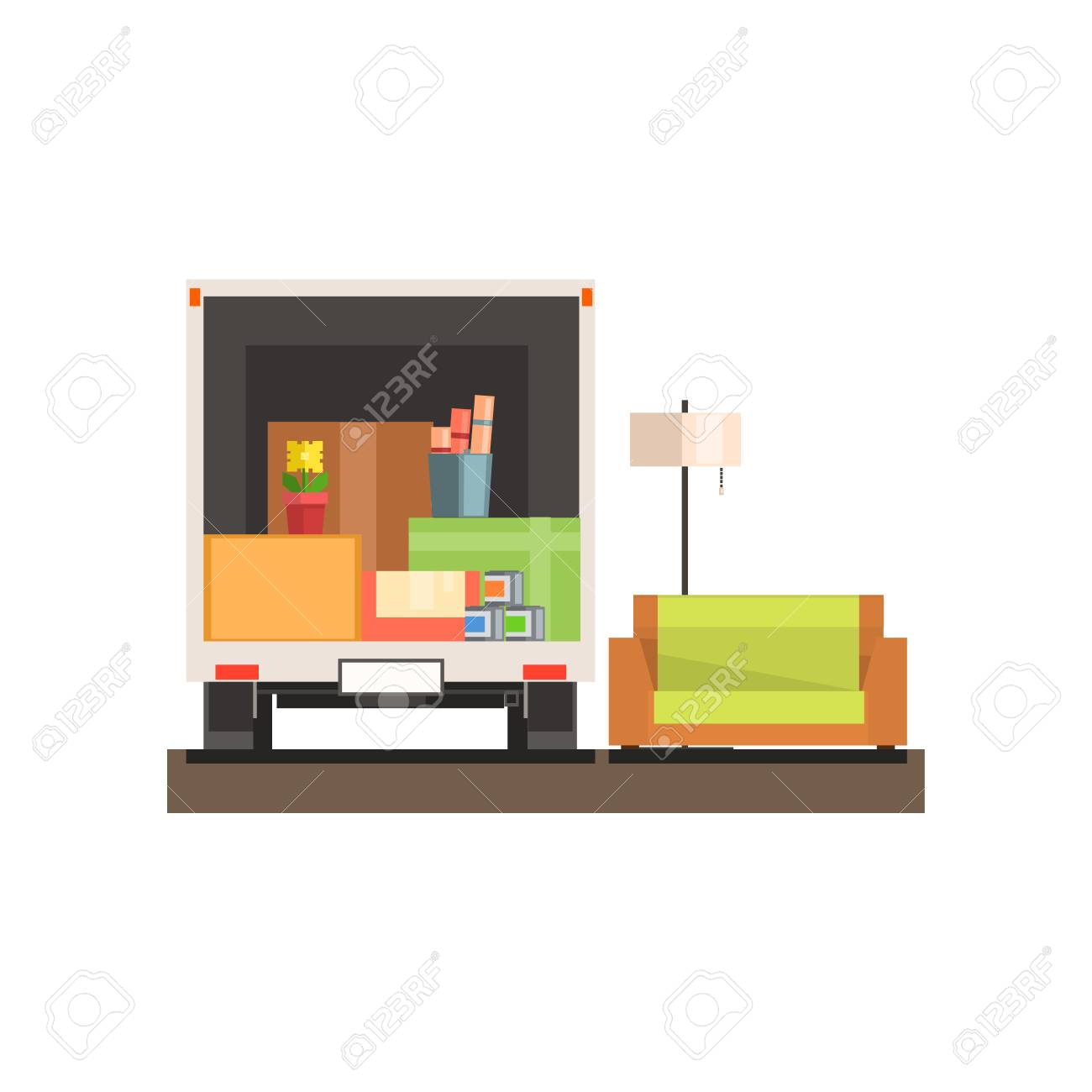 Room Interior With Sofa And Boxes 8-bit Abstract Primitive Flat ...