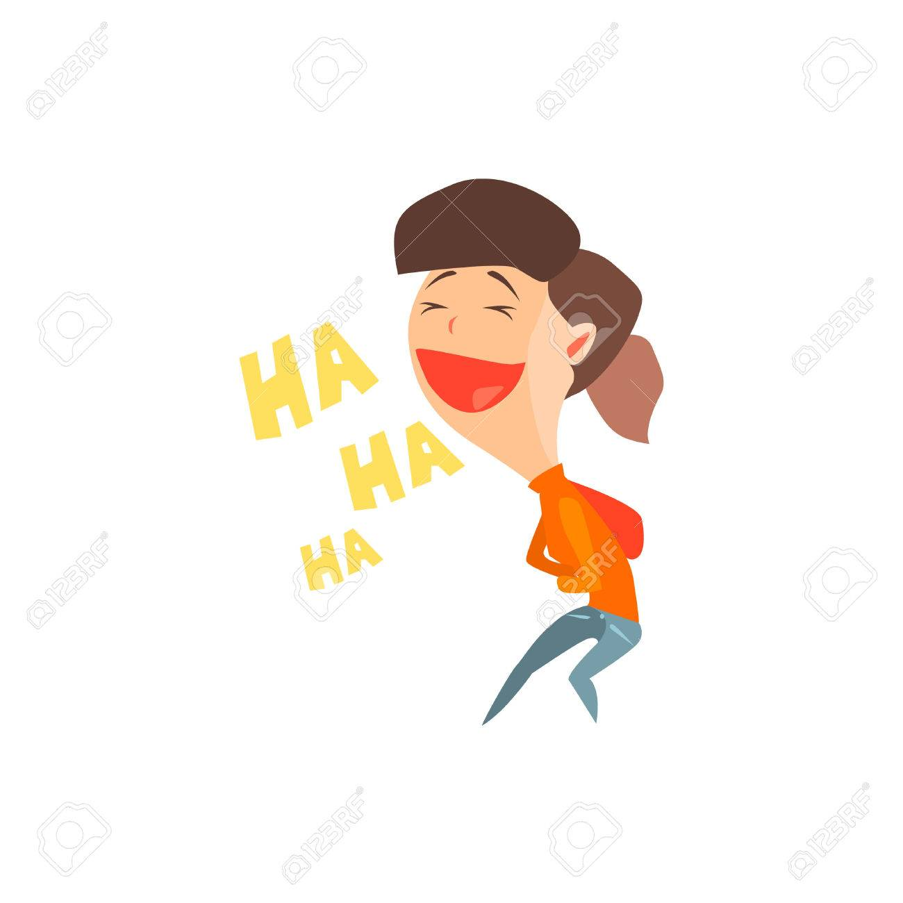 Laughing Girl Flat Vector Emotion Illustration In Graphic Style Isolated On White Background - 54181742