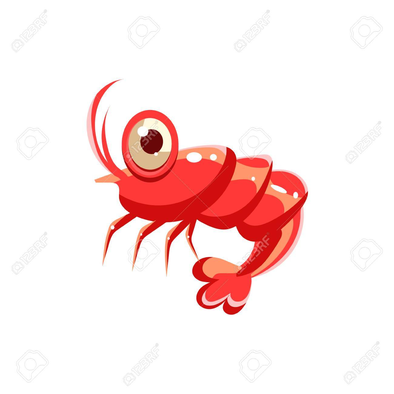 エビ かわいいイラスト集海の生活のイラスト素材 ベクタ Image
