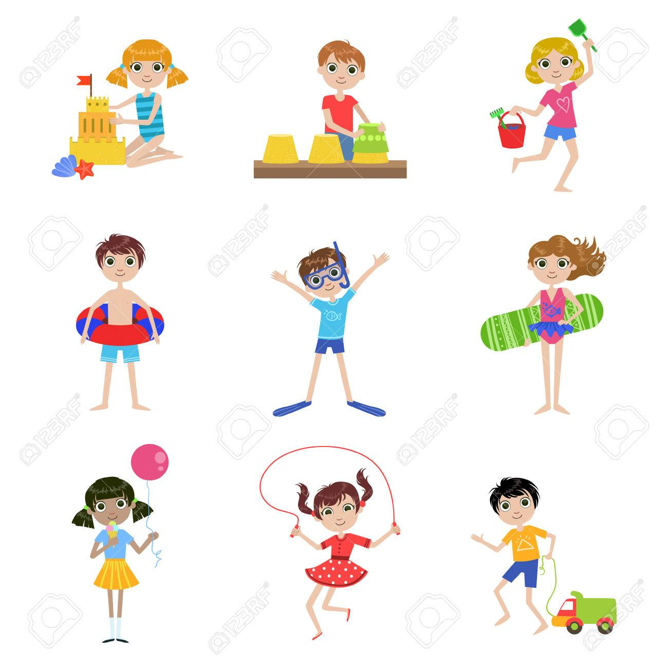 Kids On Summer Vacation Cartoon Cute Flat Vector Funny Images Set Isolated White Background Stock