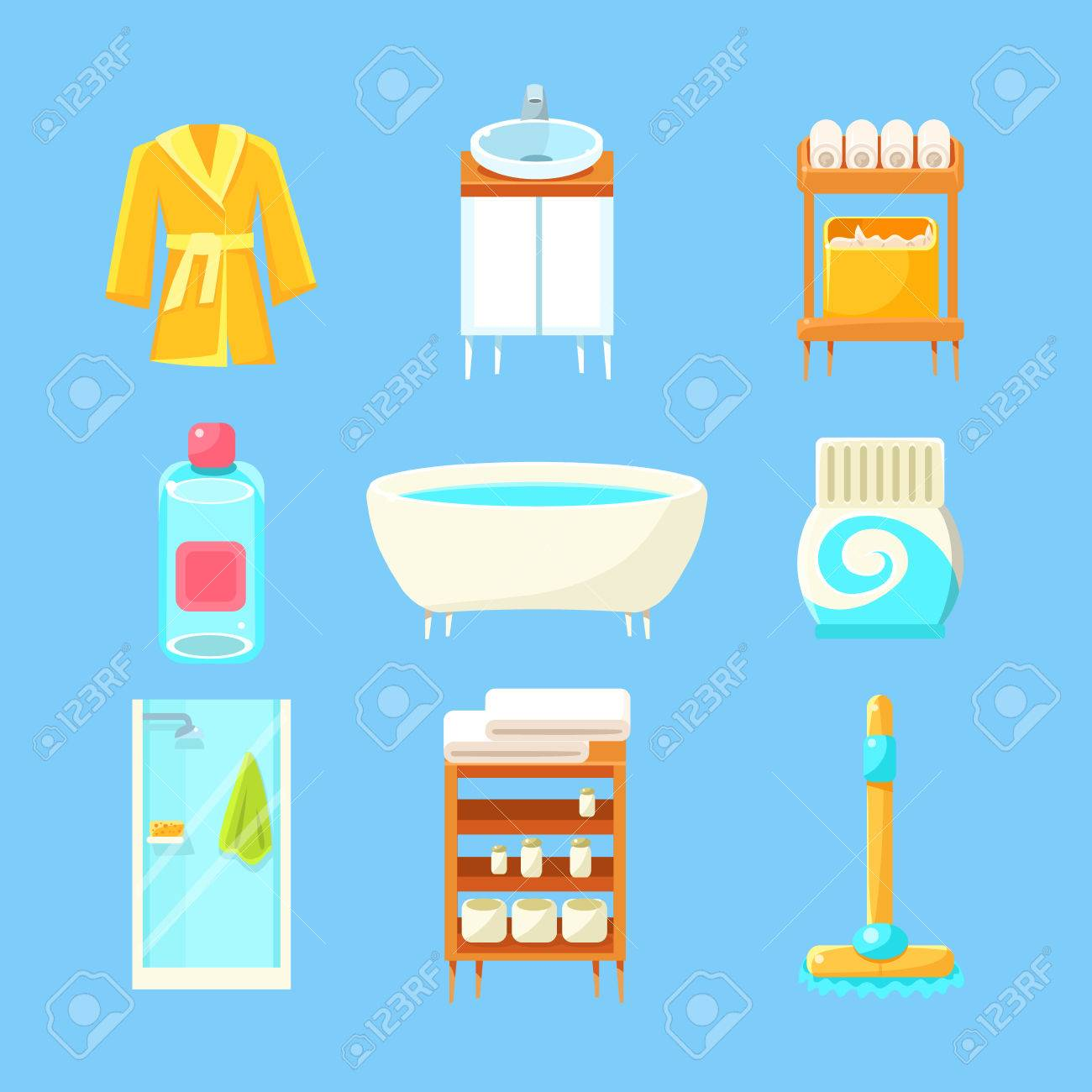 Bathroom Things Set Of Flat Isolated Vector Simplified Bright Color Design  Icons On Blue Background Stock