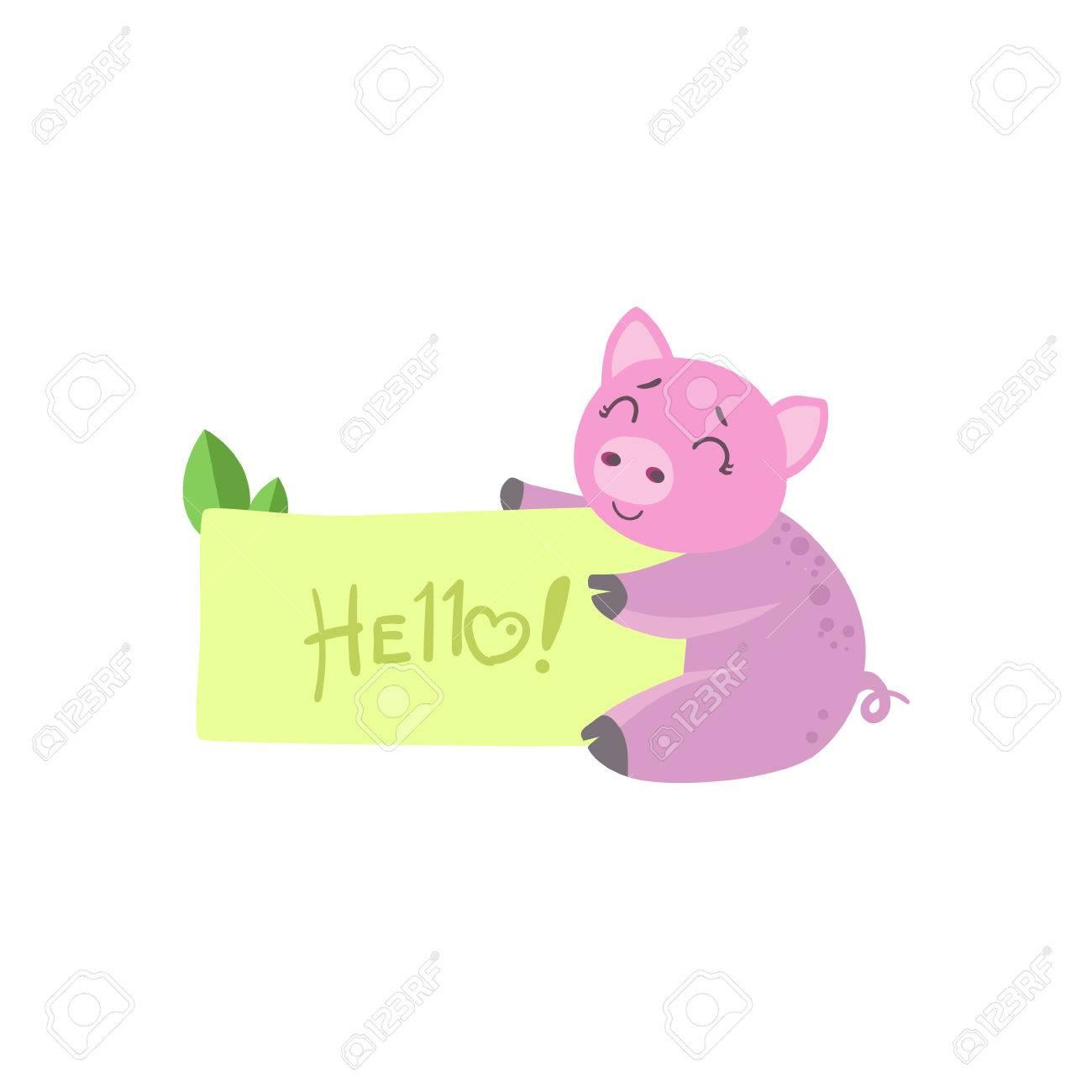 Cerdo Con La Plantilla Para El Mensaje Ilustración Infantil Colorido ...