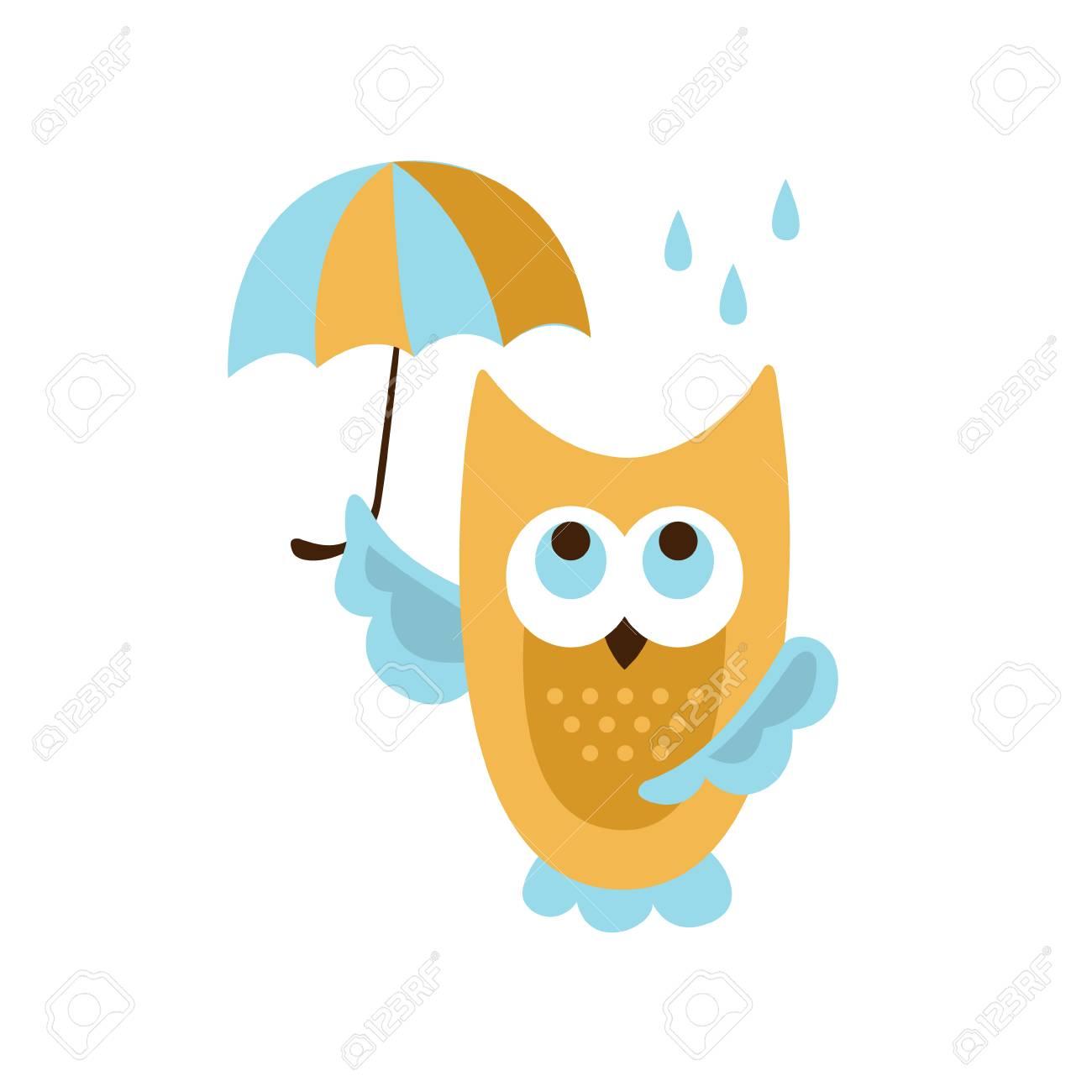 the latest 364d6 100f4 白い背景の簡略化されたルイヴィトンミニリンが含まれますスタイルで雨創造的な面白いし、かわいいフラット デザイン ベクトル図の下の傘でフクロウ