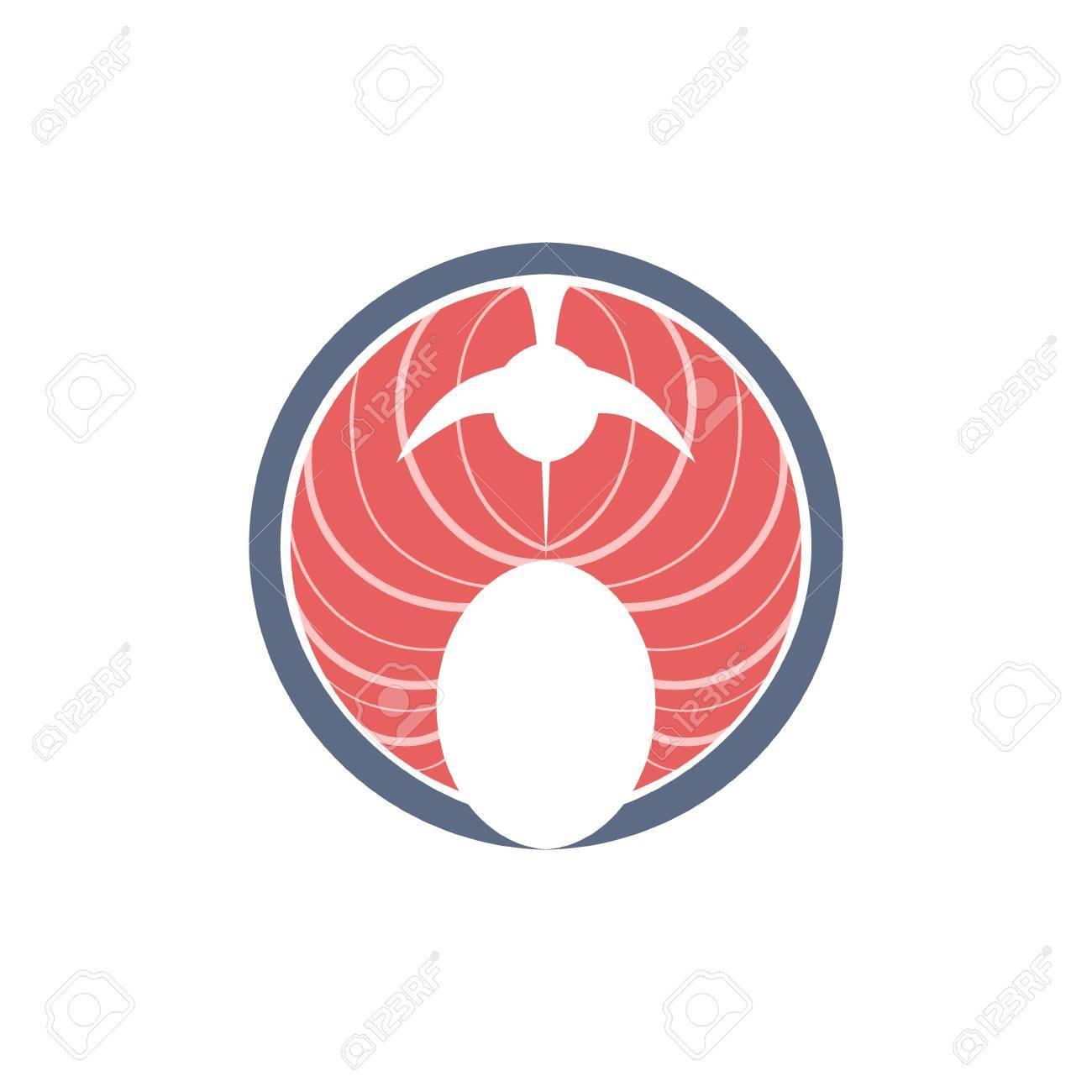 Red Fish Steak Flat Primitive Design Bright Color Vector Icon ...