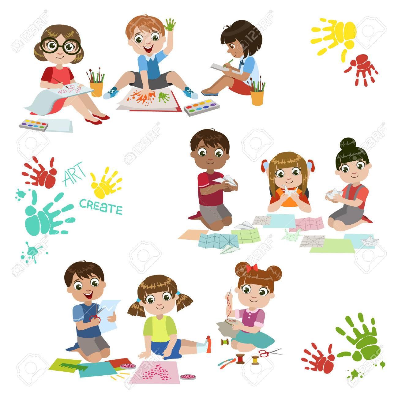Bambini Creatività Pratica Serie Di Coloratissimi Semplice Disegno Vettoriale Disegni Isolato Su Sfondo Bianco