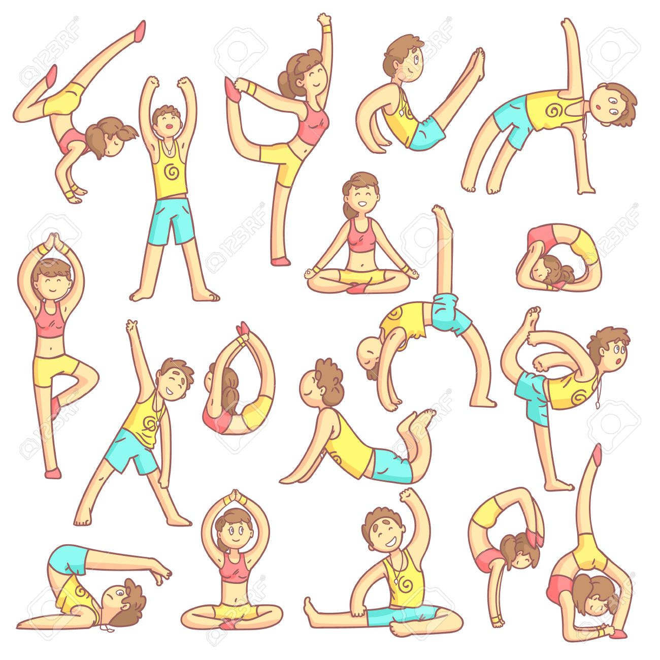 Couple Doing Yoga Poses Set Of Flat Outlined Pale Color Funny Royalty Free Cliparts Vectors And Stock Illustration Image 56858864
