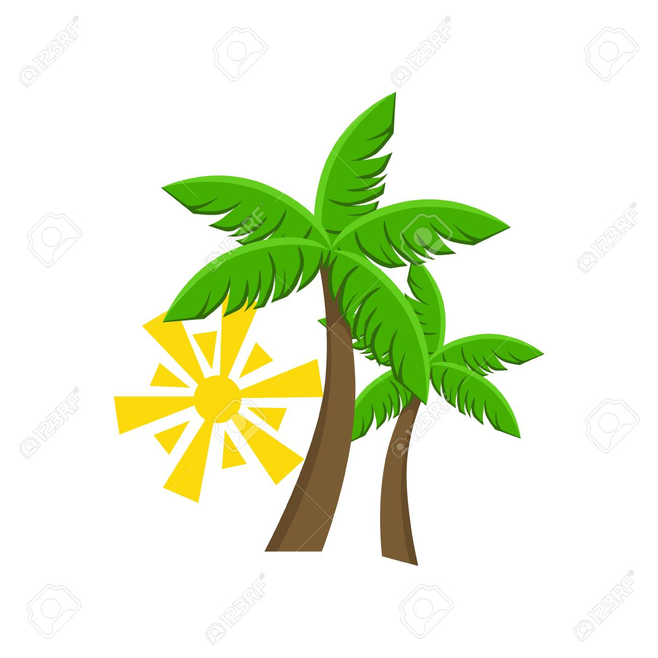 Two Palm Trees And Sun Flat Isolated Colorful Vector Design ...
