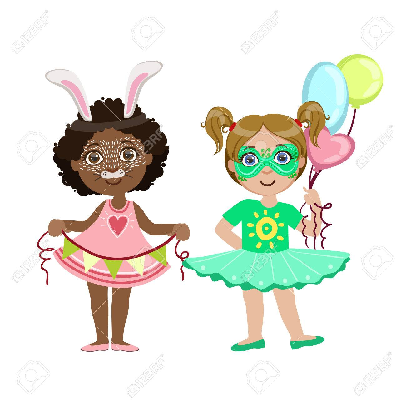 Two Girls With Cute Make Up Bright Color Cartoon Childish Style