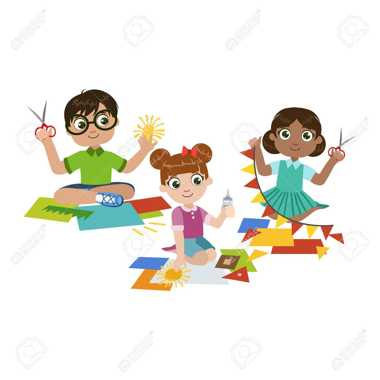 Kids Doing The Paper Craft Colorful Simple Design Vector Drawing