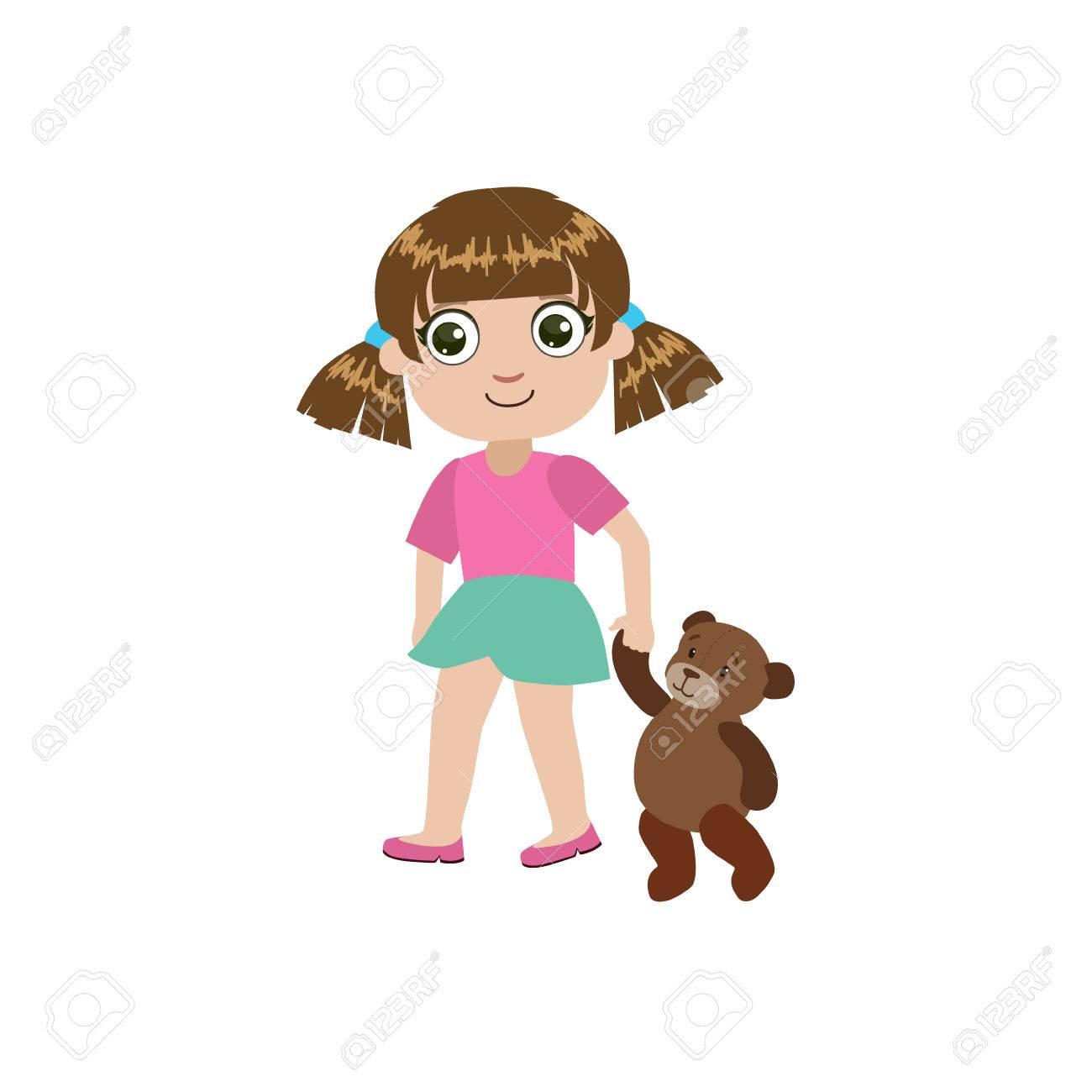 Fille Walking With Teddy Bear Colorful Conception Simple Dessin Vectoriel Isolé Sur Fond Blanc