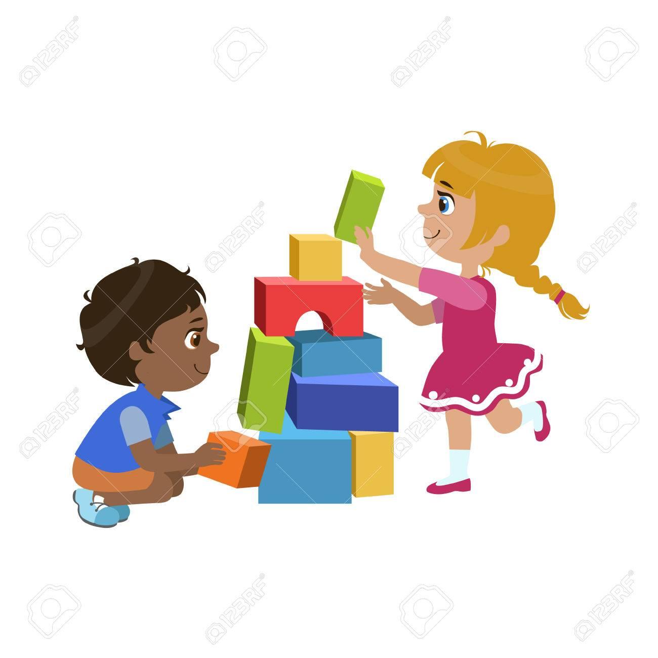 Kinder-Bricks Bunte Einfache Design-Vektor-Zeichenprogramm Auf ...