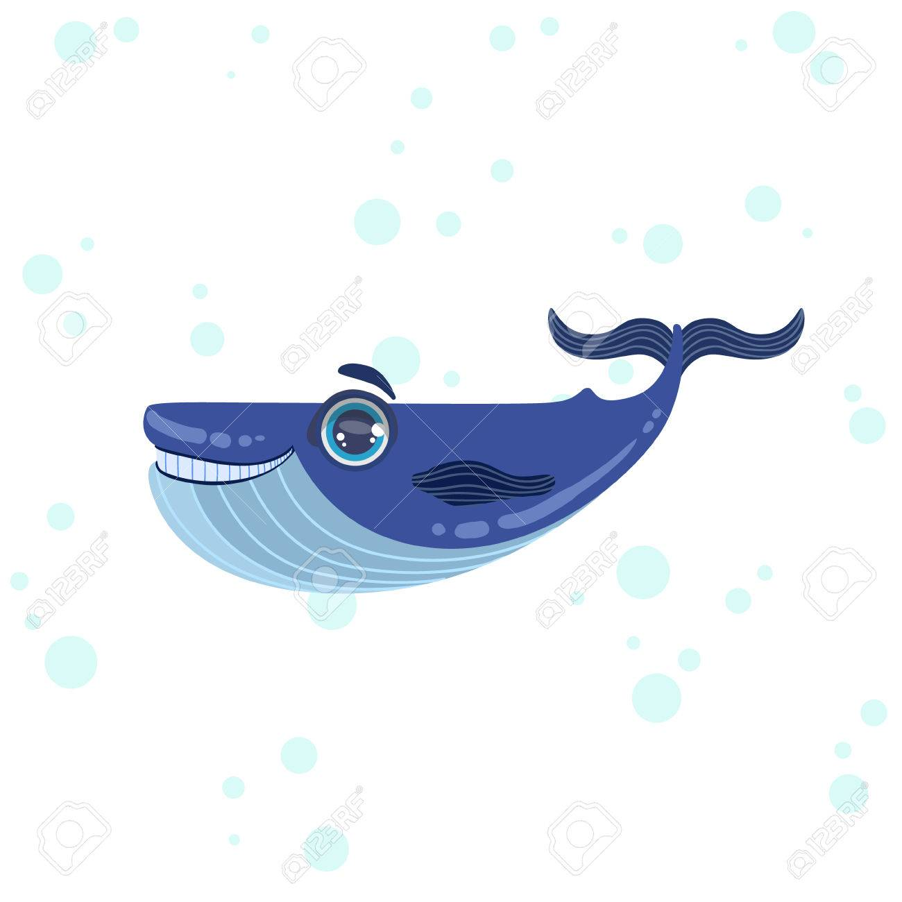 Cute whale in water cartoon isolated illustration stock photography - Blue Whale Bright Color Cartoon Style Vector Illustration Isolated On White Background Stock Vector 57440855