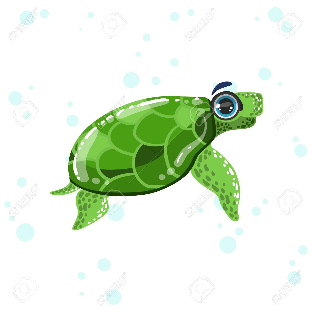 Ilustración De La Tortuga Verde Brillante Color Estilo De Dibujos