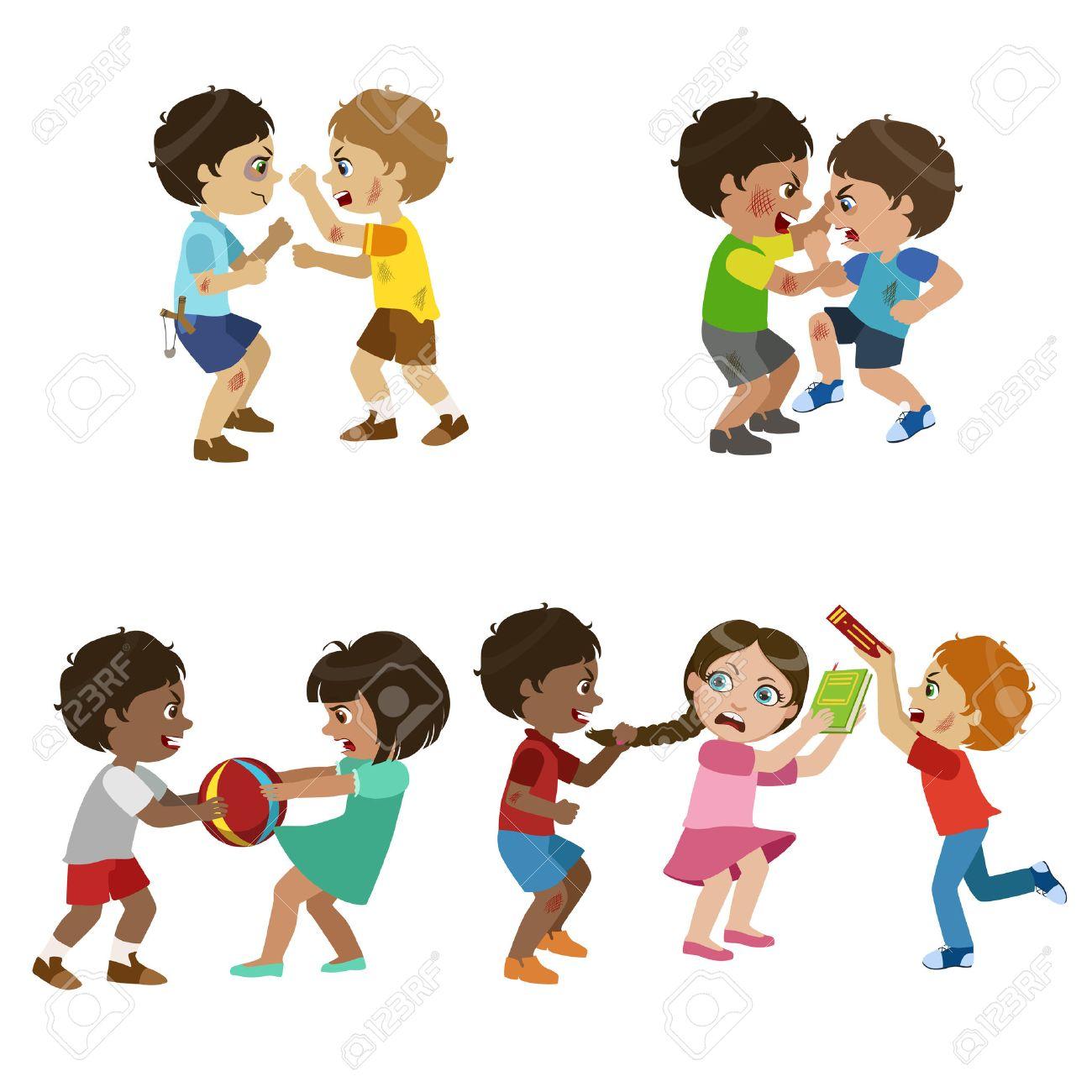 Kids Bullies Childish Cartoon Style Cute Vector Illustration On White Background - 57889849