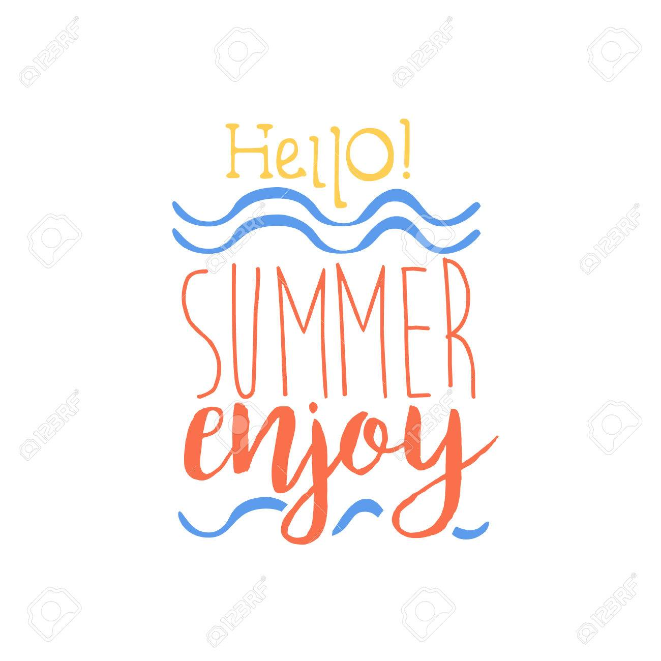 Etonnant Hello Summer Colorful Ad. Colorful Summer Beach Holiday Promotion Banner.  Cool Calligraphic Hand Drawn
