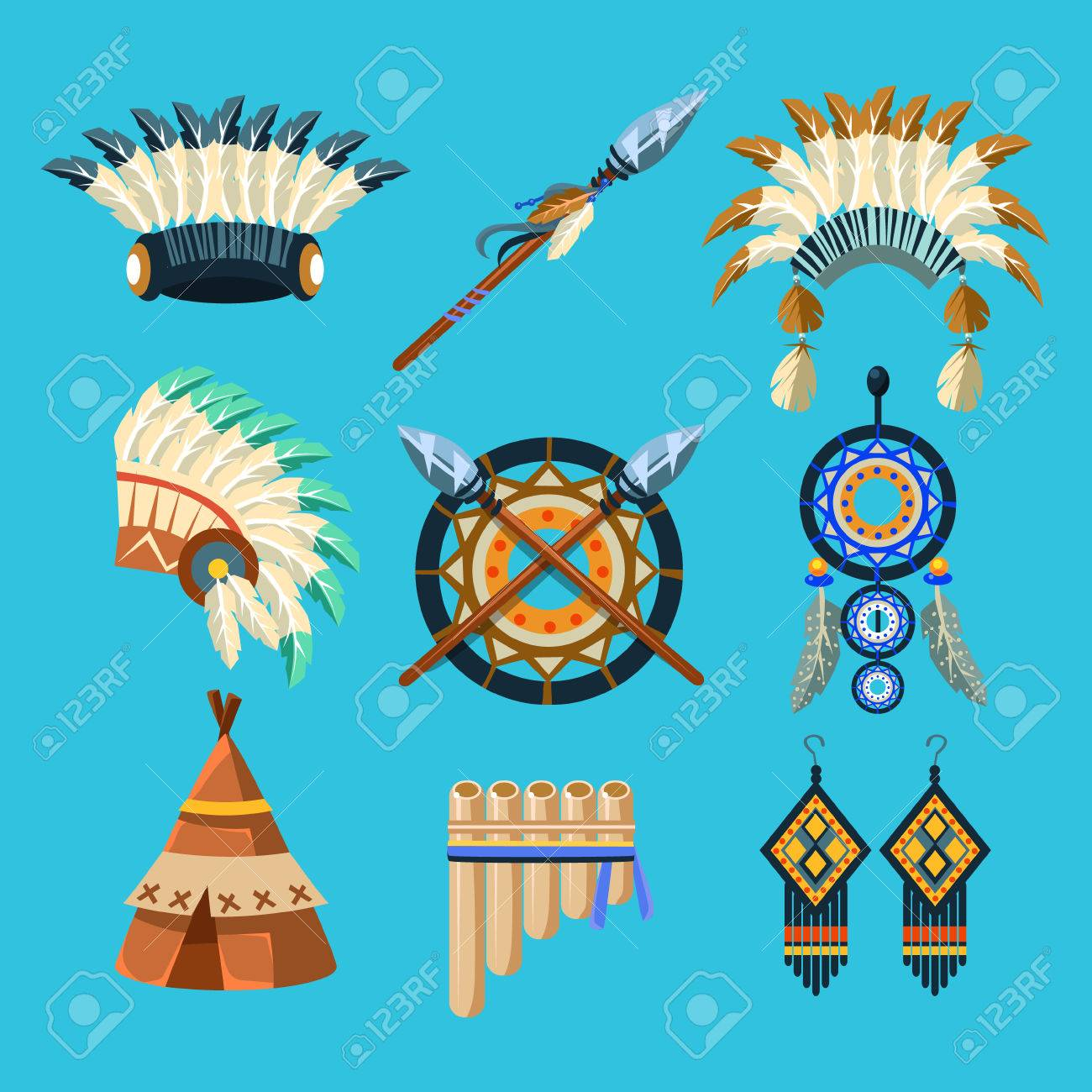 native american indian culture set of simple flat realistic vector