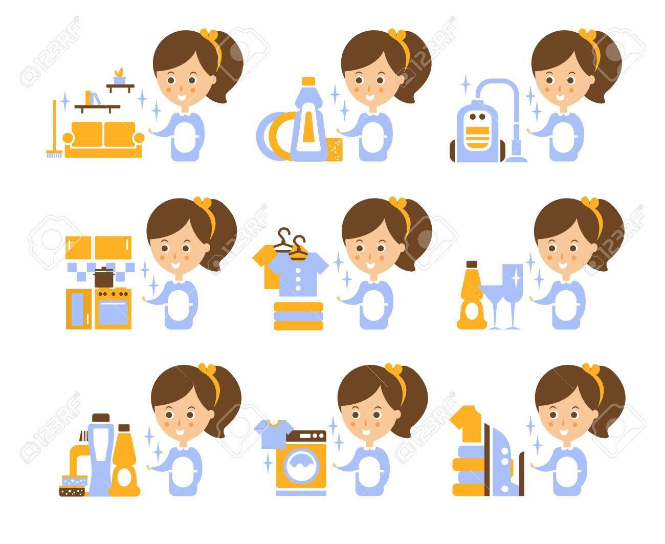 クリーニング サービスの女の子と様式化された簡易フラット ベクトル漫画