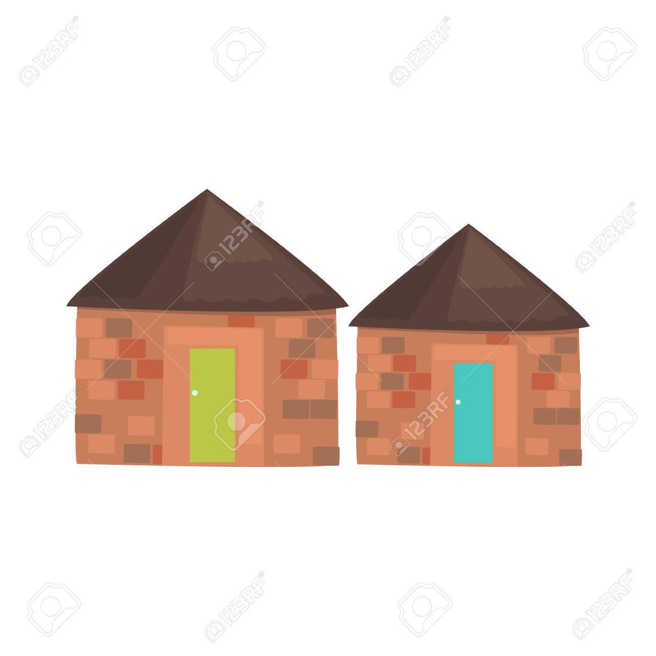 Maisons locales africaines réaliste simplifié brillant vecteur de couleur  Dessin isolé sur fond blanc