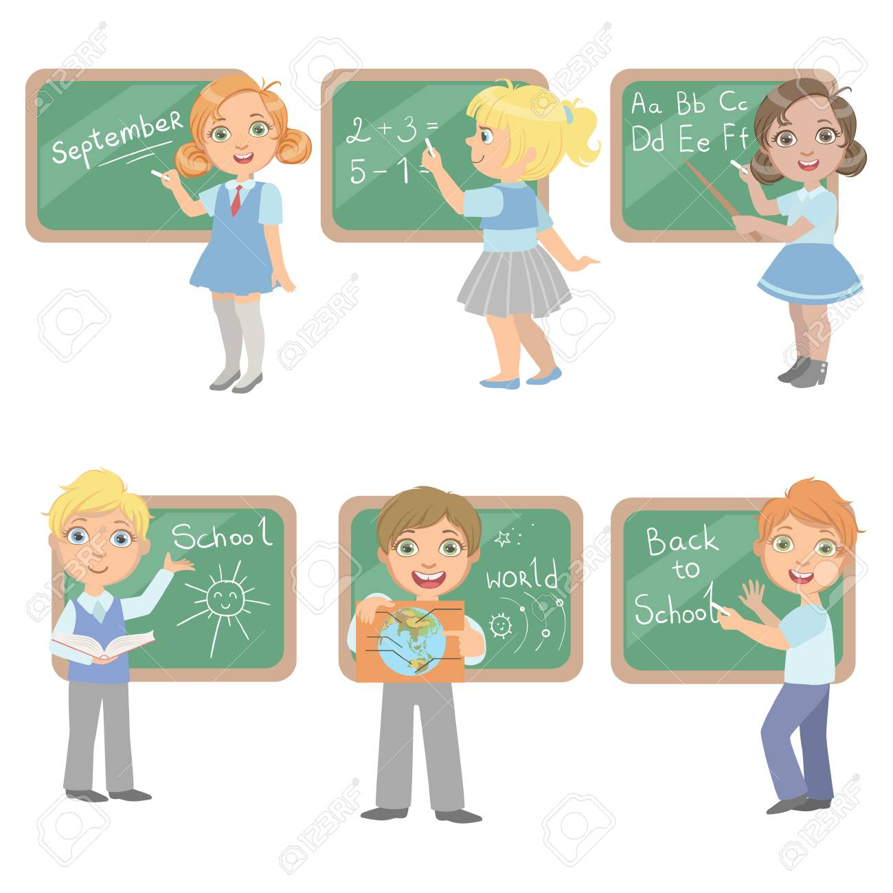 kids writing on blackboard set of simple design illustrations