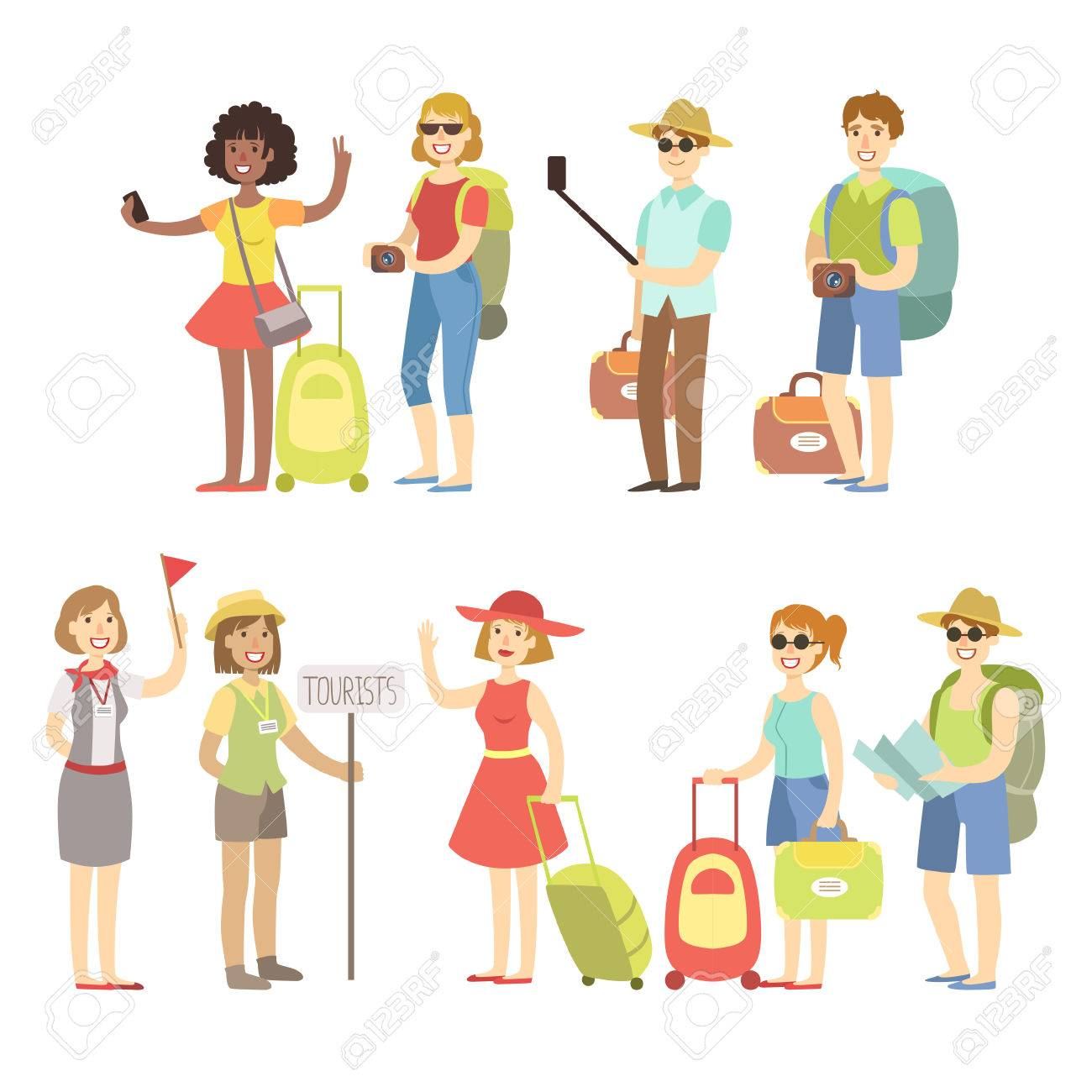 Happy Tourist With Bags And Cameras Set Flat Childish Cartoon Style Bright Color Vector Illustration On White Background - 59064633