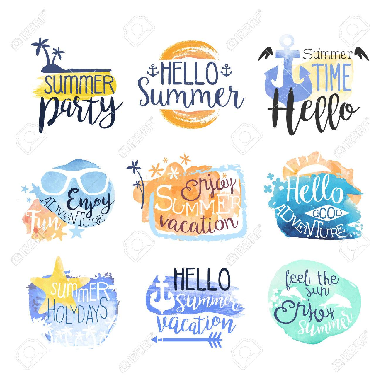 Summer Beach Vacation Promo Signs Colorful Set Of Watercolor Stylized With Text On White Background Stock