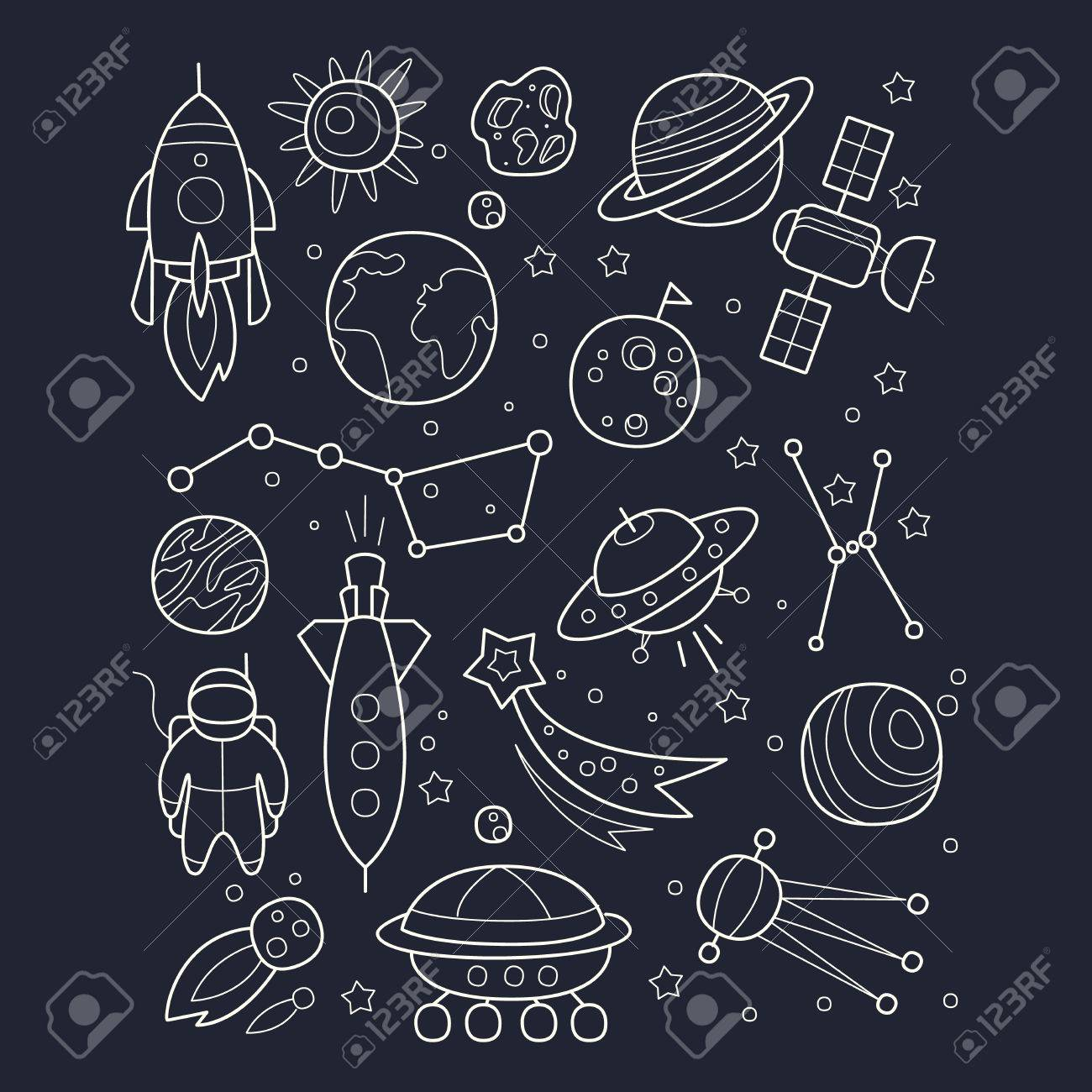 Space And Cosmic Objects Black And White Wallpaper With Contour
