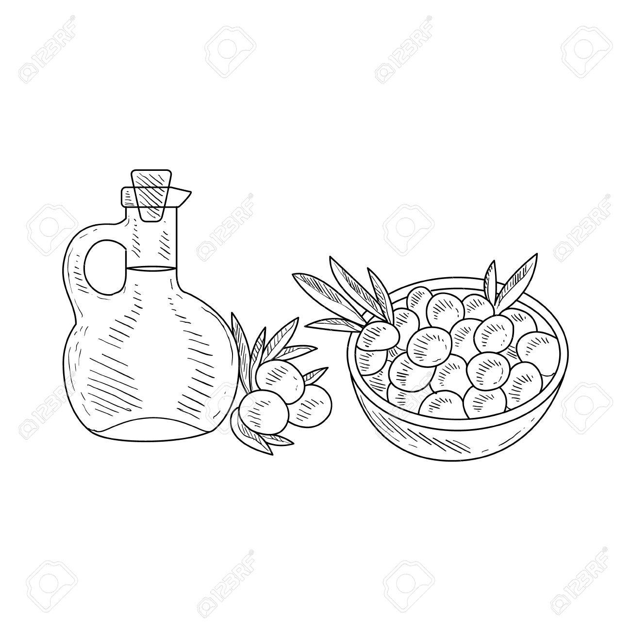Olives and jug of olive oil hand drawn realistic detailed sketch in classy simple pencil style