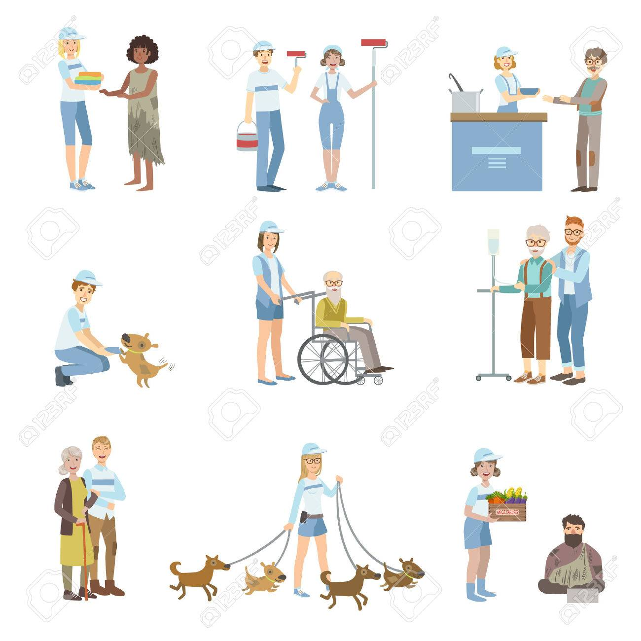 Volunteers Helping In Different Situations Illustrations Isolated On White Background. Simplified Cartoon Characters Set - 61245382