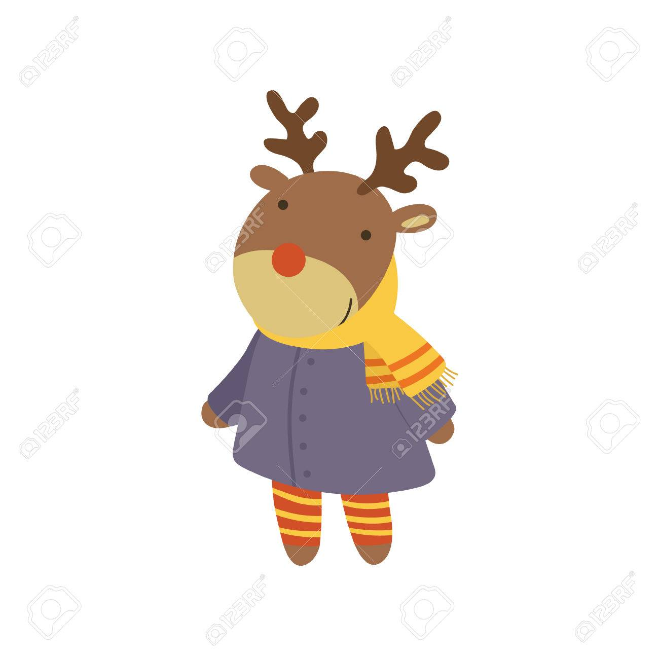 girl deer in blue warm coat adorable cartoon character stylized simple flat vector colorful drawing