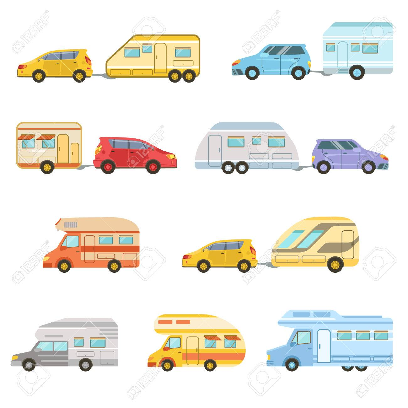Colorful Rv Minivan With Trailer Set Of Icons Family Motorhome Flat Car