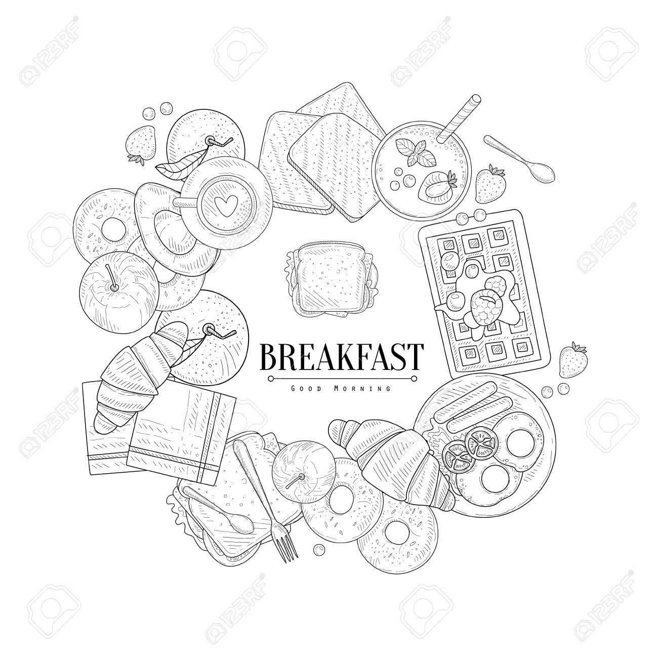 Frühstück Lebensmittel Framing Die Text Hand Gezeichnet Realistische ...